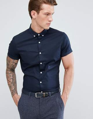 Asos Slim Shirt In Navy With Short Sleeves And Button Down Collar
