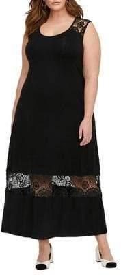 Addition Elle Michel Studio Plus Crochet A-Line Maxi Dress