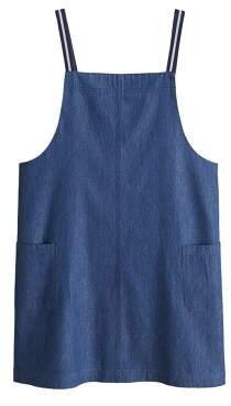 MANGO Dark denim pinafore dress