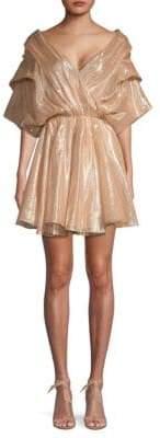 Caroline Constas Marcella Silk-Blend Ruched-Sleeve Blouson Dress