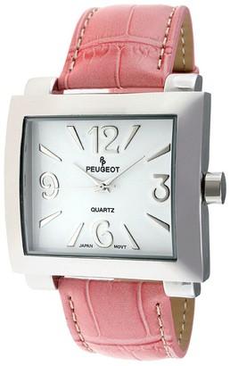 Peugeot Women's Silvertone Pink Leather Strap Watch