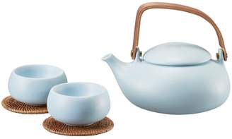 Zens Lifestyle - Ceramic Teapot With 2 Cups Blue