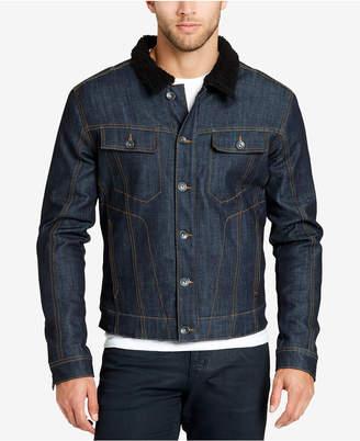 William Rast Men's Fleece-Collar Denim Jacket