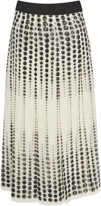 Giambattista Valli Polka-Dot Silk-Chiffon Midi Skirt
