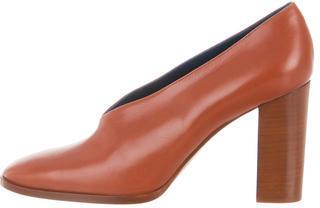 CelineCéline Leather Square-Toe Pumps