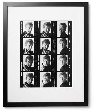 Sonic Editions Framed 1972 Roger Moore Contact Sheet Print, 17 X 21