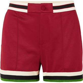 Gucci Grosgrain-trimmed Jersey Shorts - Burgundy