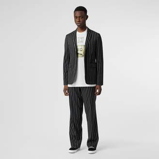 Burberry Pinstriped Stretch Wool Wide-leg Tailored Trousers