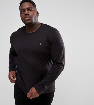 Farah PLUS Farris Slim Fit Long Sleeve T-Shirt in Black
