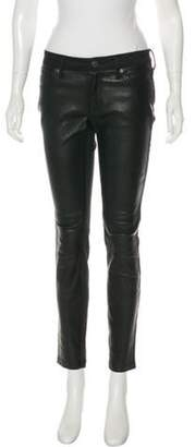 Burberry Leather-Trimmed Mid-Rise Pants Black Leather-Trimmed Mid-Rise Pants