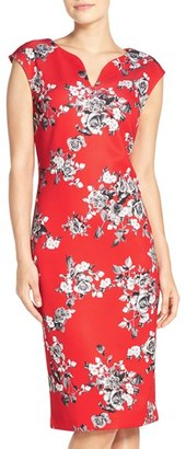 Women's Eci Floral Print Scuba Sheath Dress $88 thestylecure.com