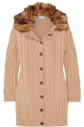 RED Valentino Faux Fur-Trimmed Wool Cable-Knit Cardigan