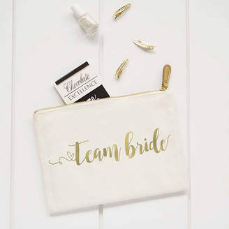 Cathy's Concepts CATHYS CONCEPTS Gold Foil Team Bride Canvas Clutch