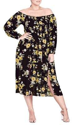 City Chic Plus Miss Chirpy Floral Off-Shoulder Dress