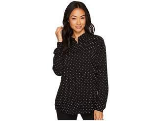 FDJ French Dressing Jeans Pindot Print Long Sleeve Blouse Women's Blouse