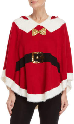 It's Our Time Mrs. Clause Ugly Christmas Hooded Poncho