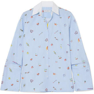 Mira Mikati Venice Beach Printed Cotton-poplin Shirt - Light blue