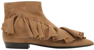 J.W.Anderson 10mm Ruffle Suede Ankle Boots