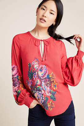 Anthropologie Monica Embroidered Peasant Blouse