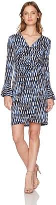 London Times Women's Petite Geo Wire Printed Matte Jersey Wrap Dress, Blue/Multi, 10P
