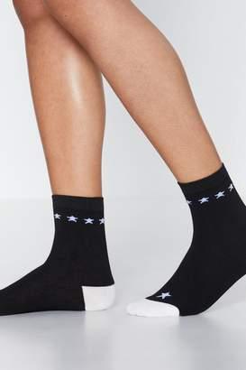 Nasty Gal Contrast Star 2 Pack Socks