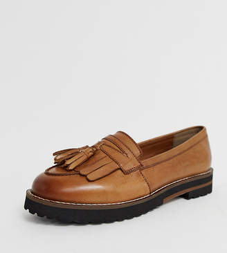 be19e02abfe Asos Design DESIGN Wide Fit Maxfield leather fringed loafers