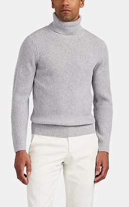 P. Johnson Men's Merino Wool-Cashmere Turtleneck Sweater - Light Gray
