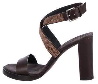 Brunello Cucinelli Leather Ankle Strap Sandals