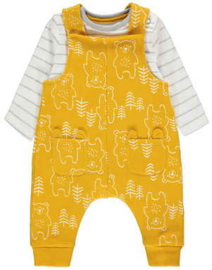 George Yellow Bear Print Dungarees and Bodysuit Outfit