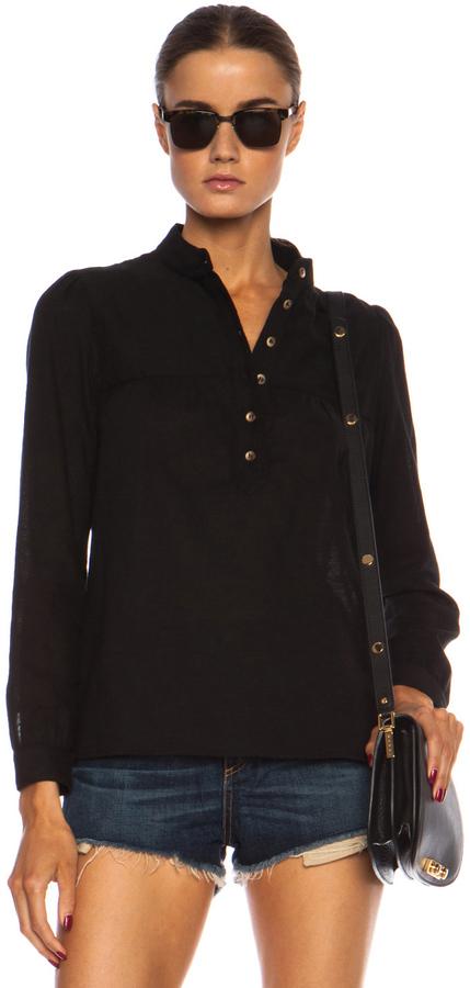 A.P.C. Line Cotton Blouse in Black