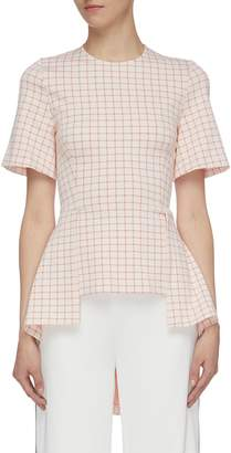 Rosetta Getty Grid jacquard staggered high-low peplum top