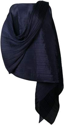 Pleats Please Issey Miyake pleated asymmetric ponchon