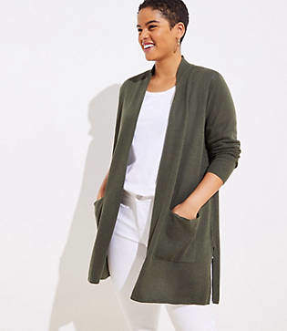 74d10b5f84 LOFT Plus Linen Blend Pocket Duster Sweater