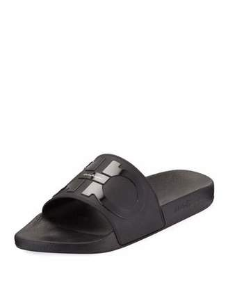 Salvatore Ferragamo Men's Groove 2 Rubber Slide Sandals