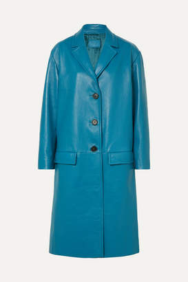 Prada Oversized Textured-leather Coat - Blue