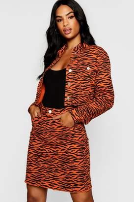 boohoo Tall Tiger Print Denim Jacket