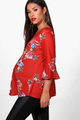 boohoo Maternity Madeline Floral V Neck Top