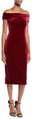 Theia Off-the-Shoulder Velvet Sheath Dress