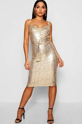 boohoo Sequin Cowl Neck Belted Midi Slip Dress
