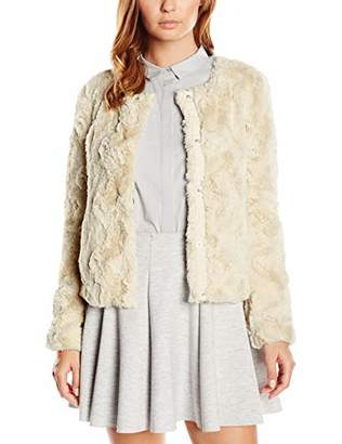 Vero Moda Women's Vmcurl Short Fake Fur Jacket Noos, White Oatmeal, 8 (Manufacturer Size: X-Small)