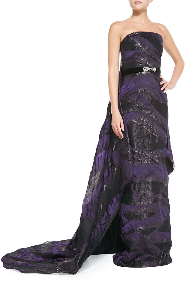 Pamella Roland Strapless Belted Cascading-Train Gown