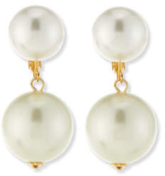 Kenneth Jay Lane Double Pearly Drop Earrings
