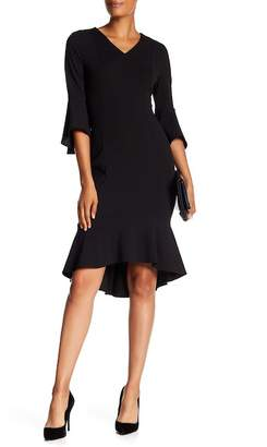 Modern American Designer V-Neck Bell Sleeve Hi-Lo Dress