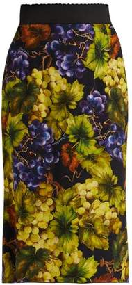 Dolce & Gabbana Grape Print Cady Midi Skirt - Womens - Black Multi