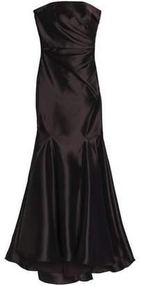 Badgley Mischka Strapless Ruched Taffeta Gown