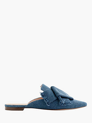 J.Crew Marina Denim Slider Flat Mules, Icy Blue
