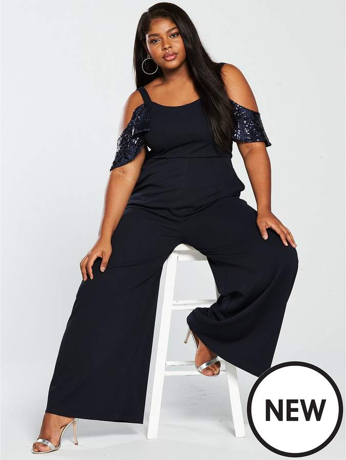 Lost Ink Plus Wide Leg Jumpsuit With Sequin Sleeves - Navy