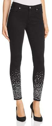7 For All Mankind Embellished Ankle Skinny Jeans in B(air) Black with Rhinestones