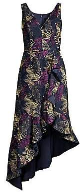 Aidan Mattox Women's Jacquard Print Asymmetric Midi Dress
