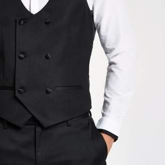 River Island Mens Black double-breasted vest